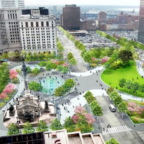 View from above of parkland in downtown Cleveland