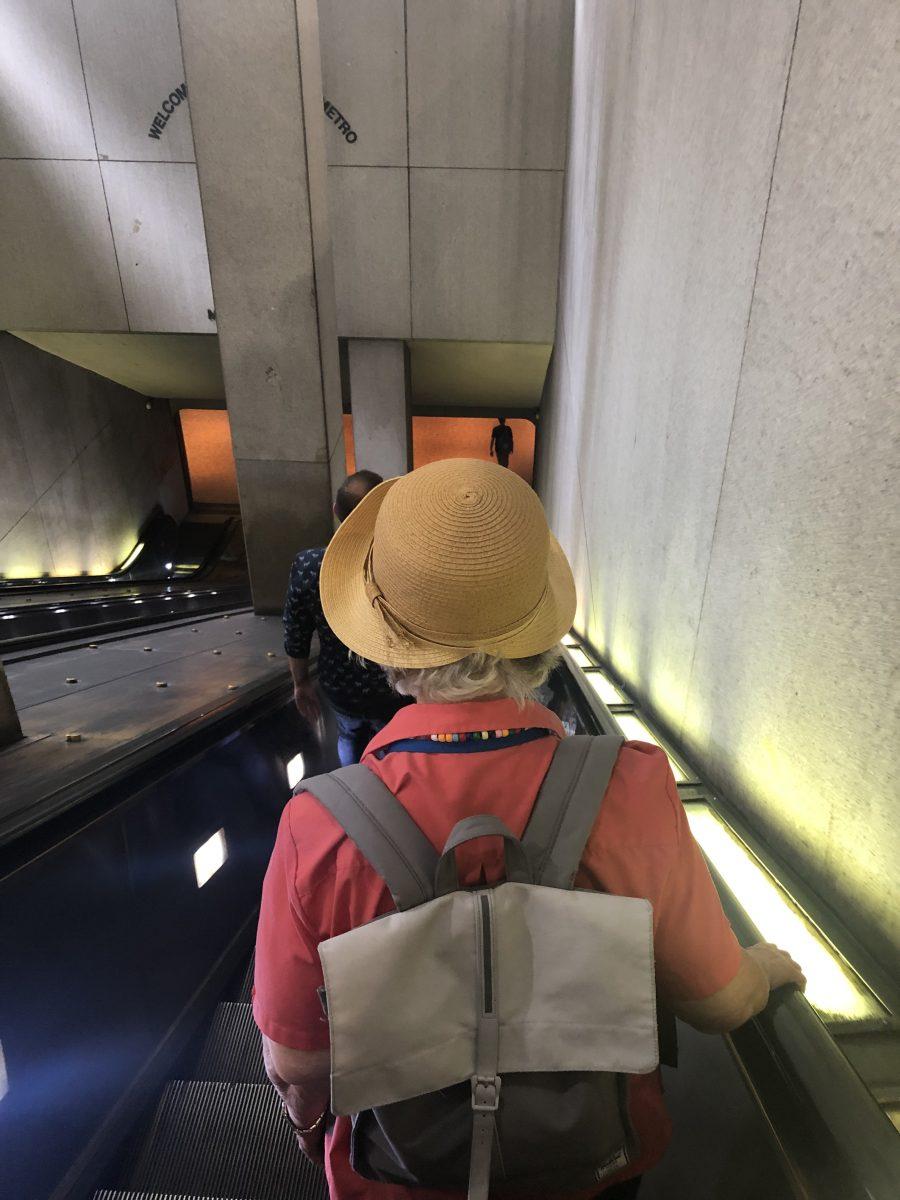 Jane using the DC Metro Escalator