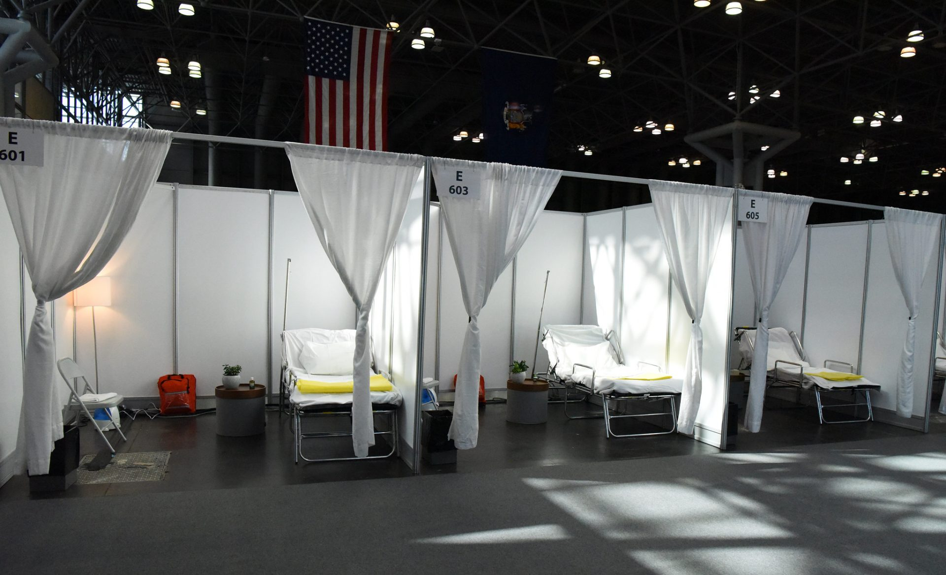 Patient care units at the Jacob K. Javits Convention Center in New York City