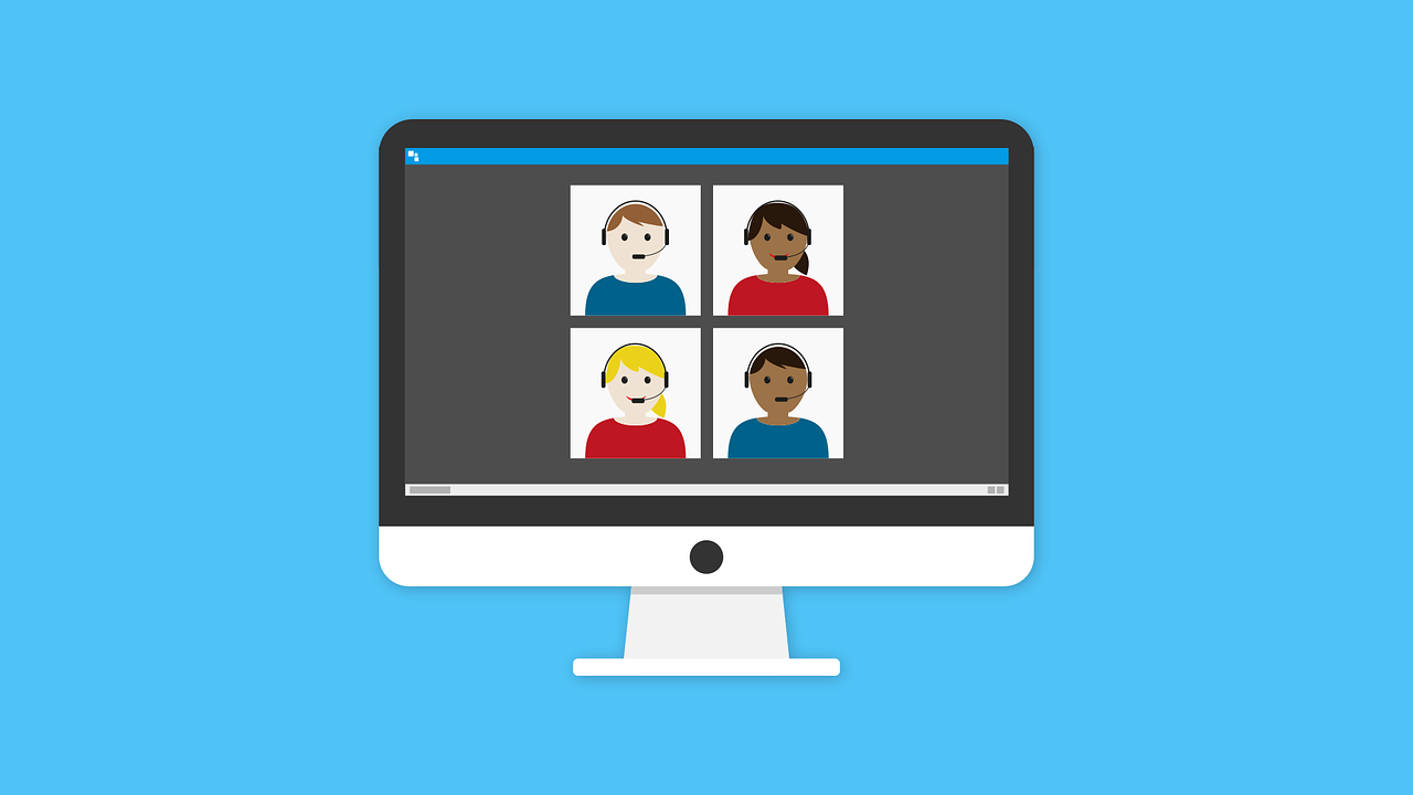 Cartoon Faces with Headsets on Computer Screen
