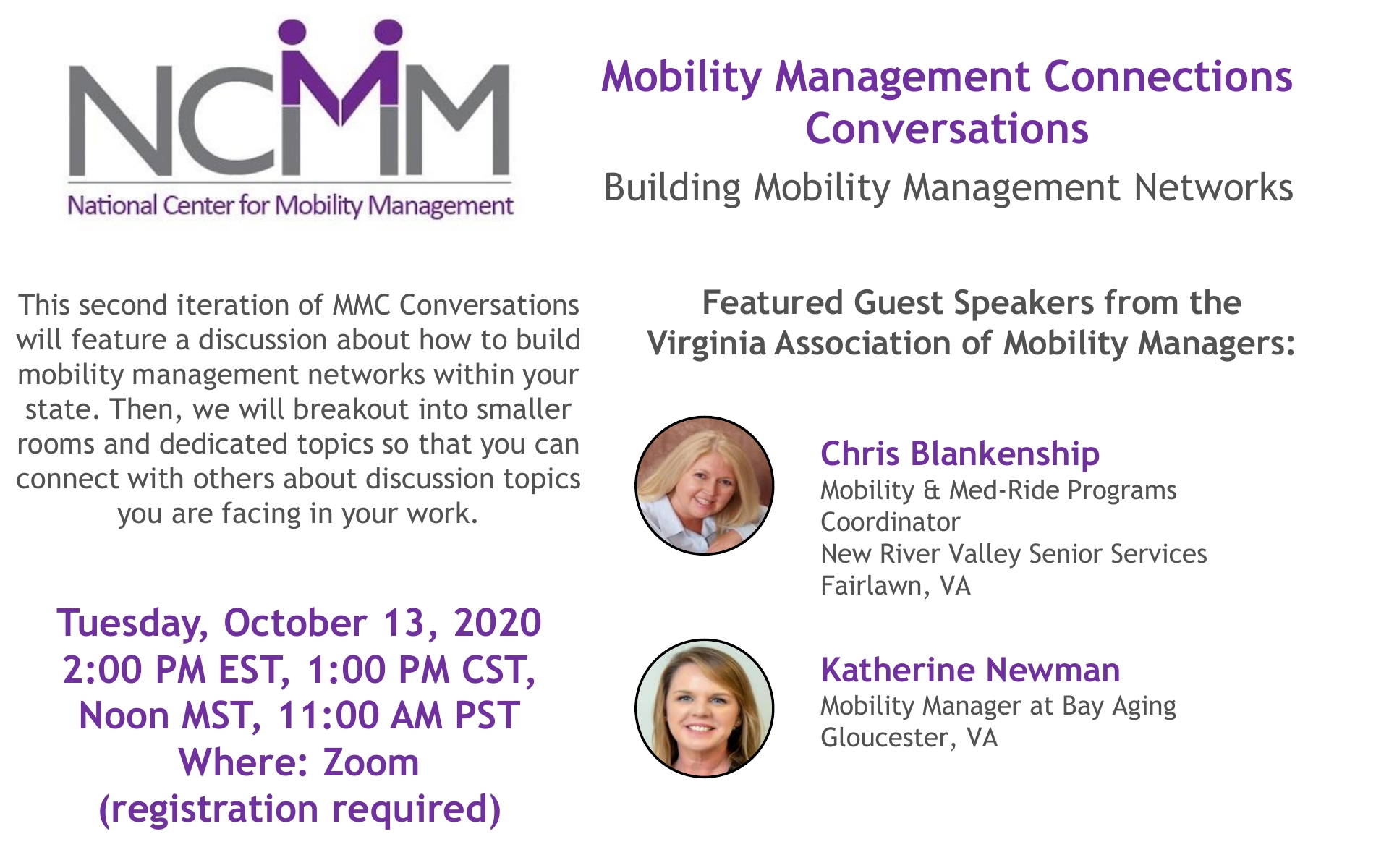 MMC Conversations Promo Panel for October 13 Meeting