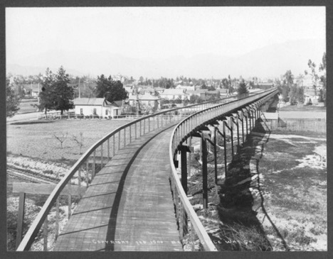 California Cycleway from 1900 crossing railroad tracks in 1900.