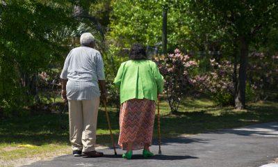 Older Adult Couple Walking in Park